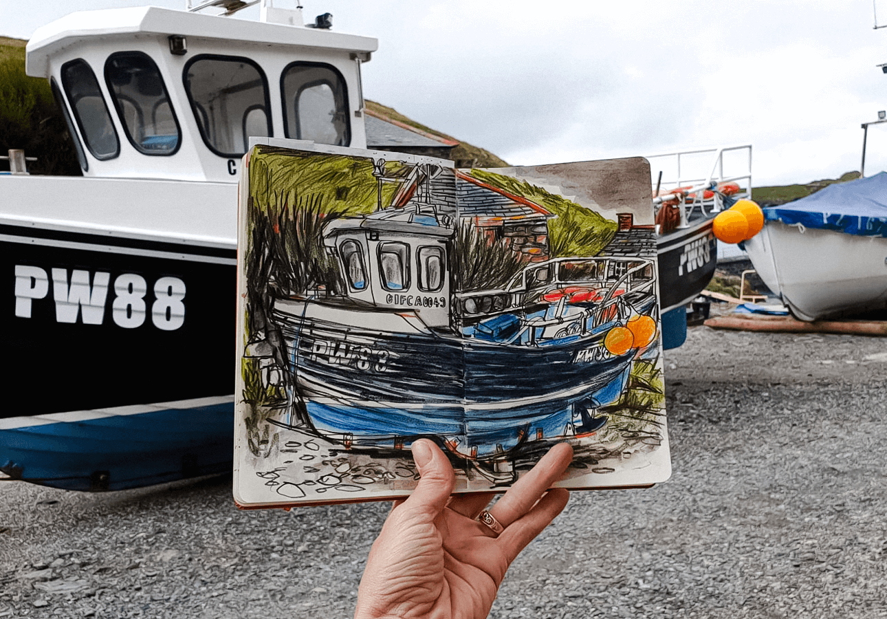An on-location sketch of a fishing boat drawn by Melanie Chadwick.