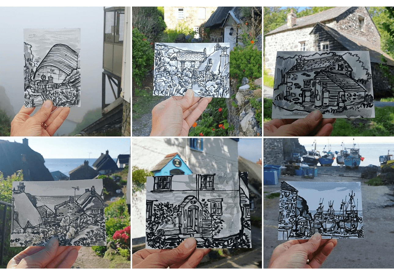 A collection of postcard sketches depicting urban and rural outdoor scenes drawn by Melanie Chadwick.