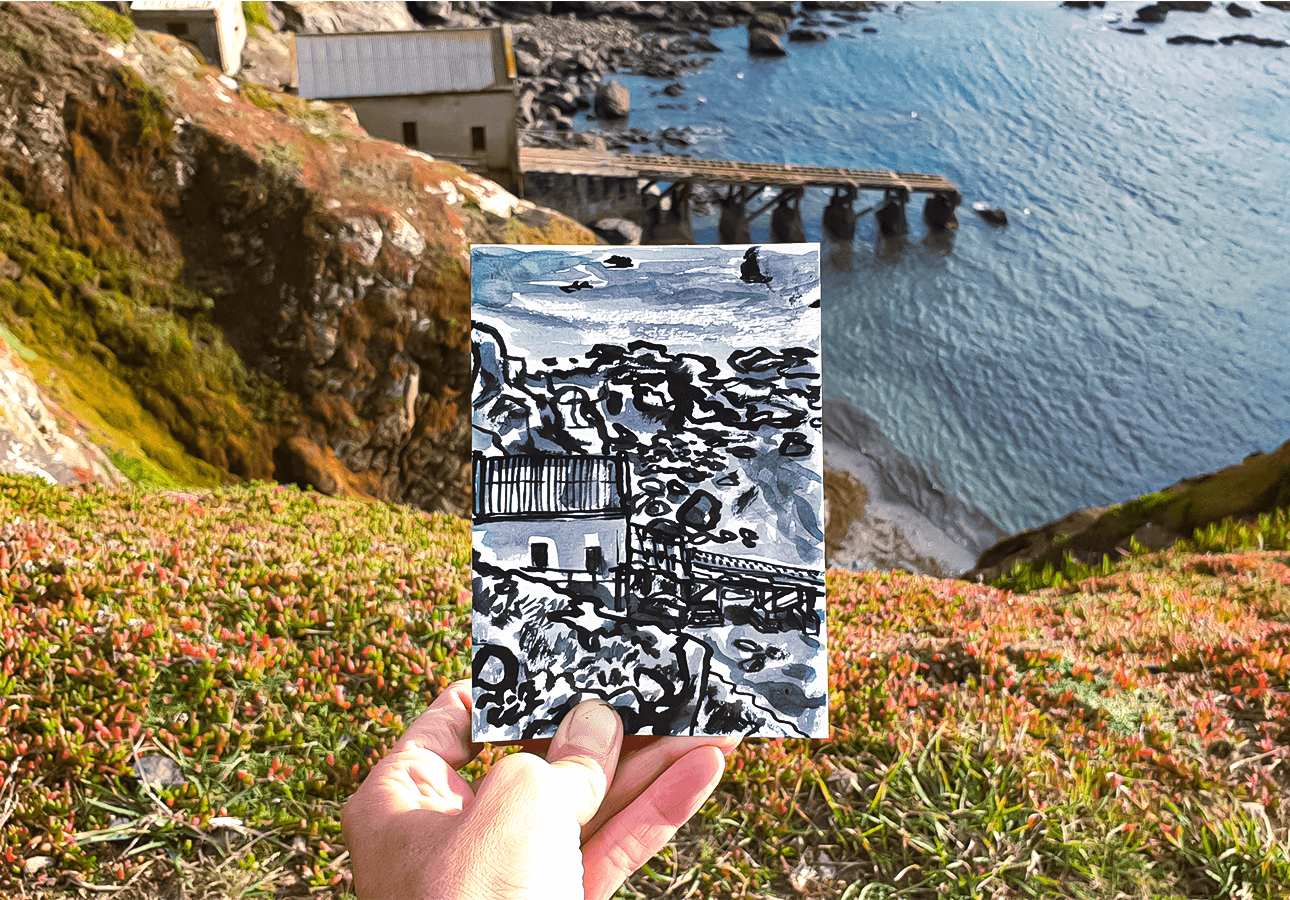A postcard of the old lifeboat house at Polpeor by Melanie Chadwick.