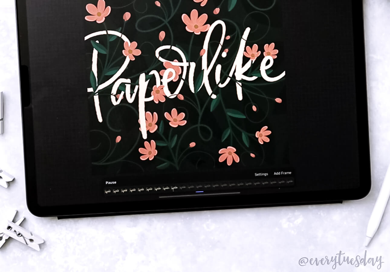 A hand lettering artwork that says Paperlike, created with iPad.