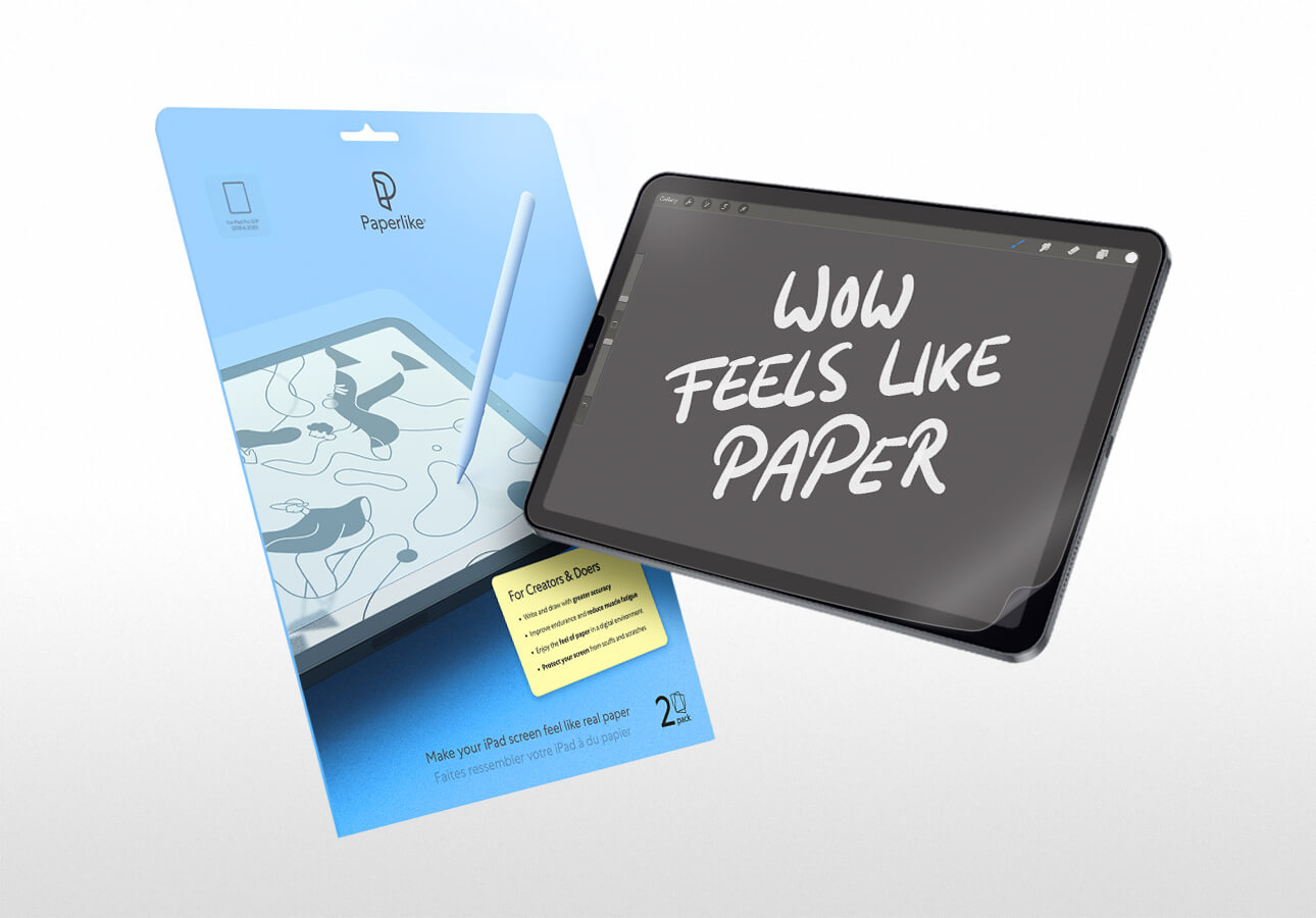 An image of an iPad next to a Paperlike accessory kit.