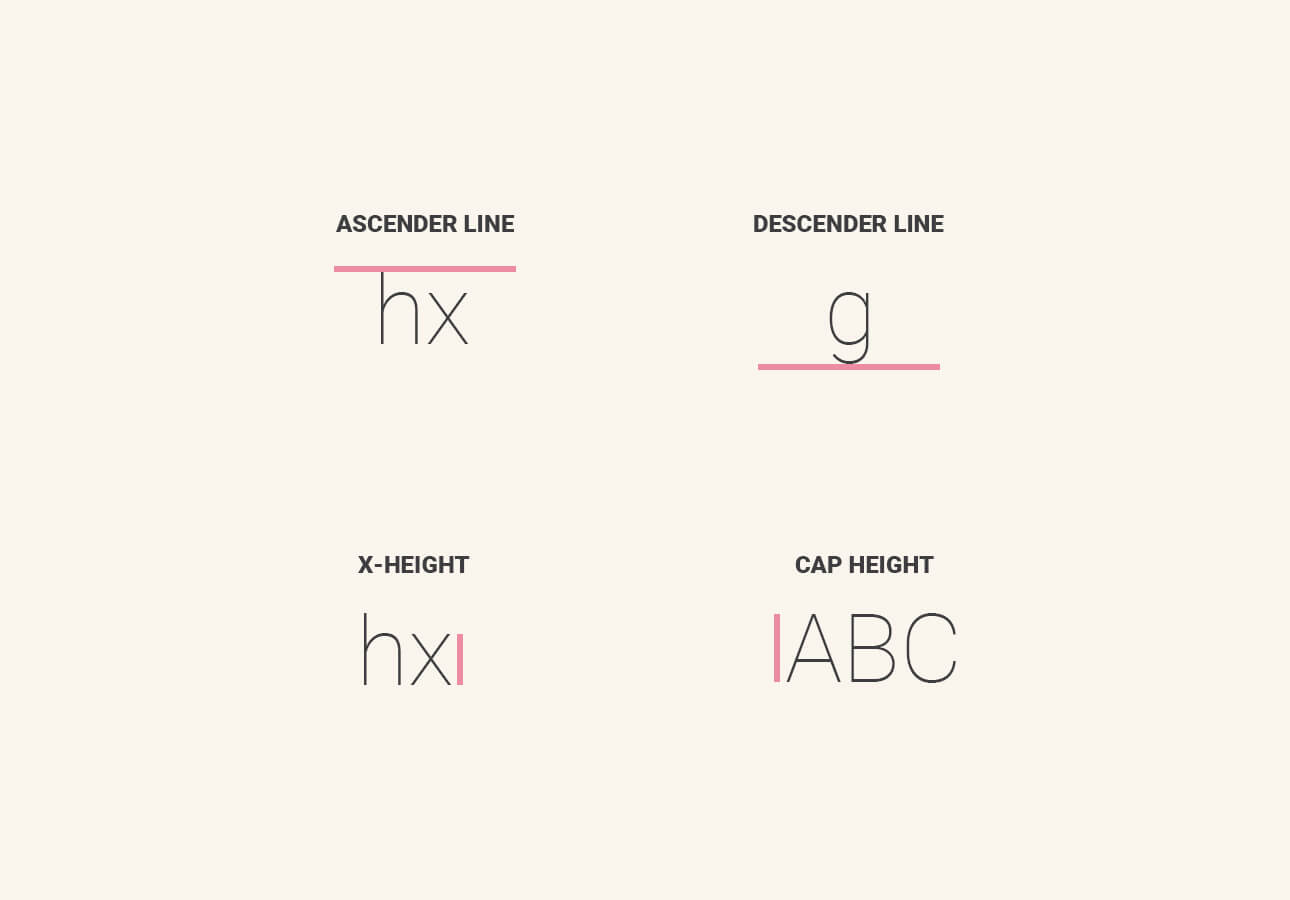 An image showing what ascender line, descender line, x-height and cap height are.