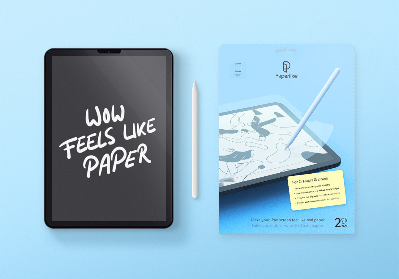 An image of an iPad and Apple Pencil next to a Paperlike accessory kit.