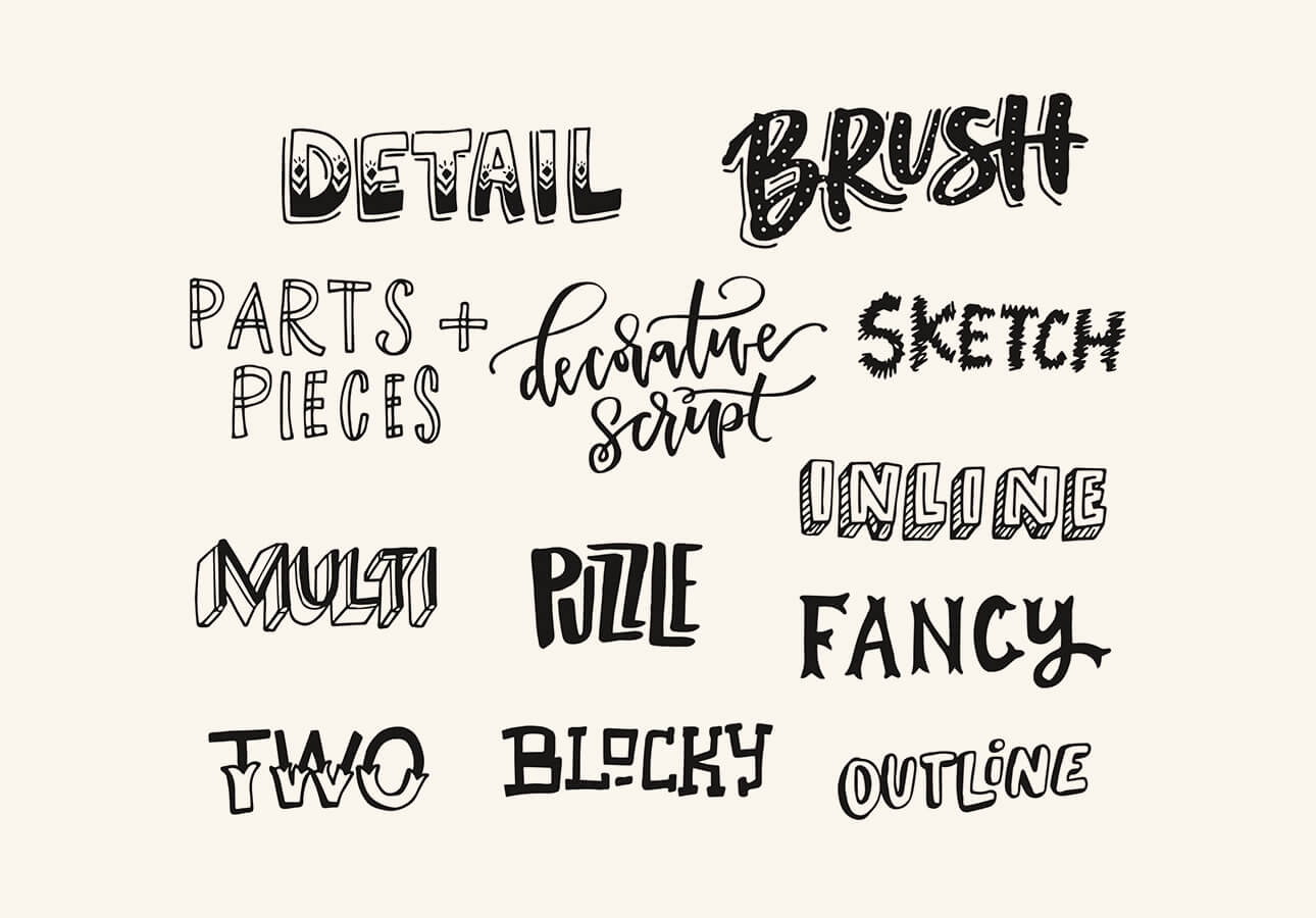 An image showing different hand lettering styles.