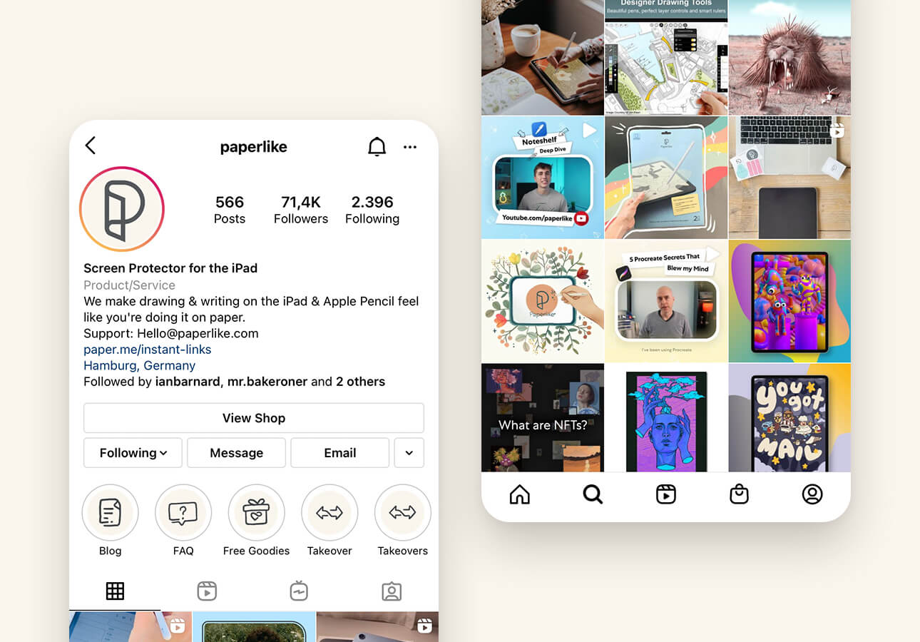 An image showing Paperlike's Instagram page.