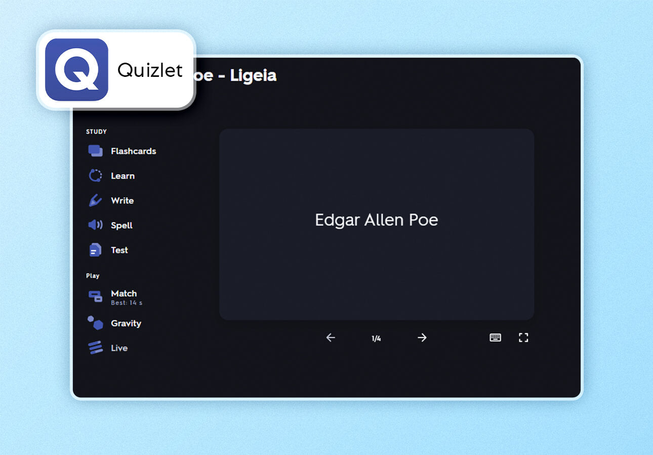 An image of the Quizlet app interface.