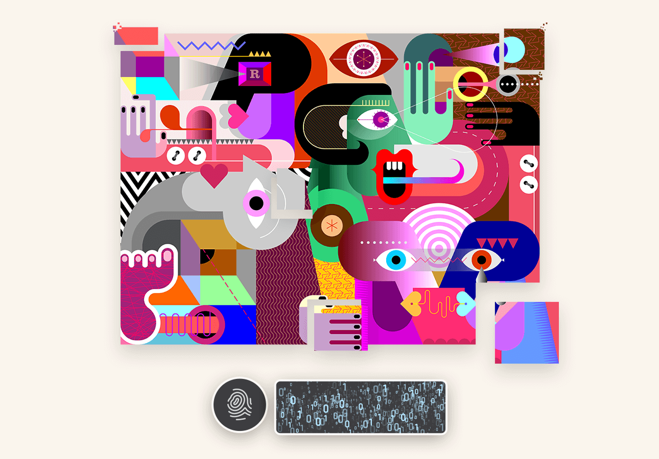 An abstract piece of art with a fingerprint icon and code information at the bottom.