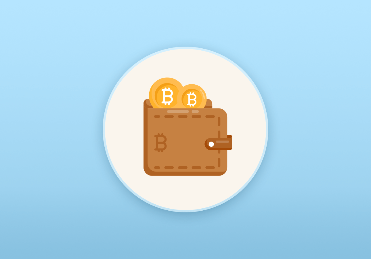 An illustration depicting a wallet with Bitcoin in it.