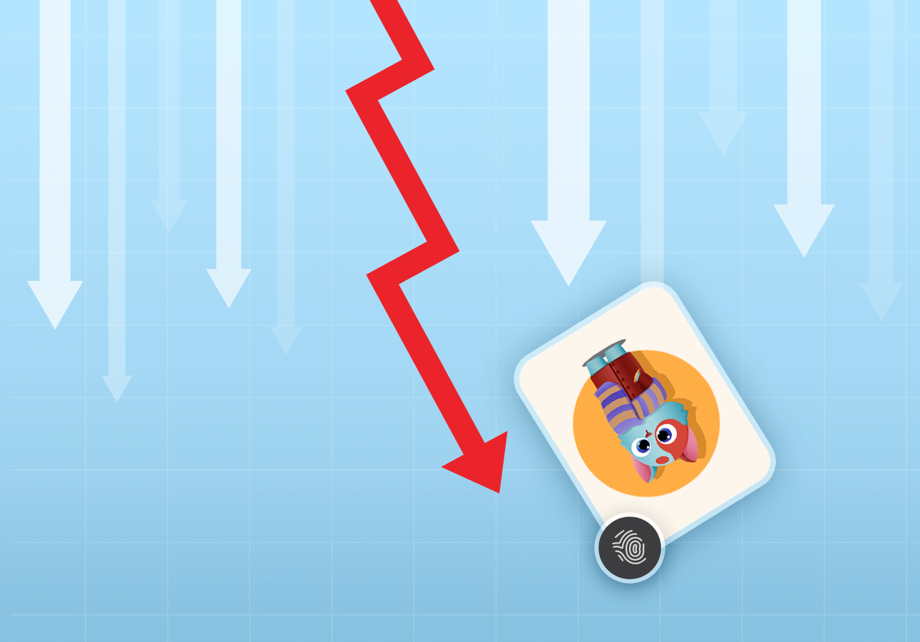 An illustration showing downward arrows and a human-like cat illustration with a fingerprint icon on it, depicting a market crash of NFTs