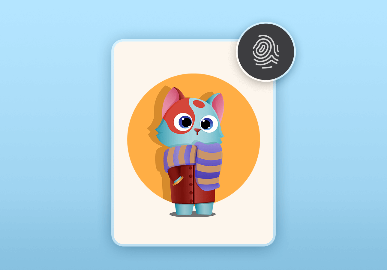 An image displaying a human-like cat illustration, with a fingerprint icon on it.
