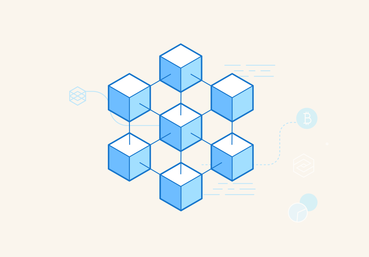 An image depicting cubes connected to each other with lines to portray a blockchain system.