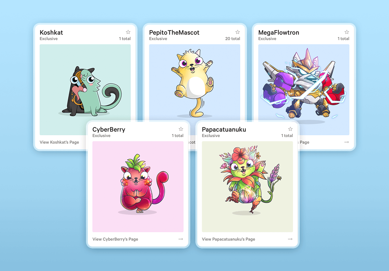 An image depicting 5 digital collectibles from CryptoKitties.