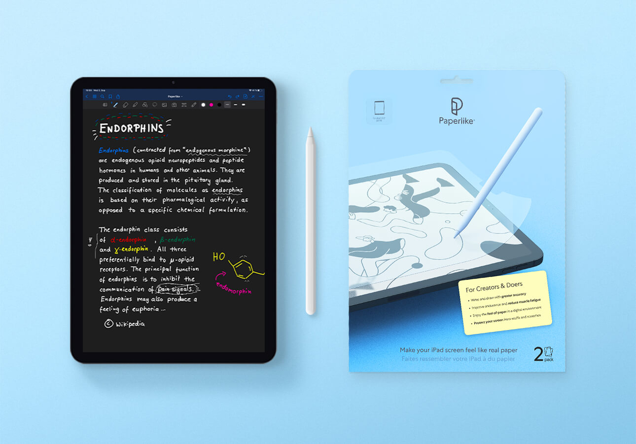 An iPad, Apple Pencil and Paperlike.