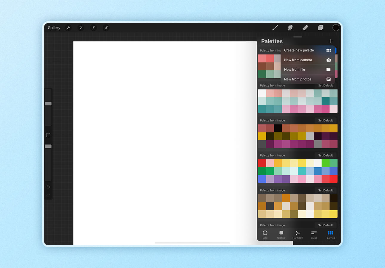 An image displaying the color palette menu in Procreate.