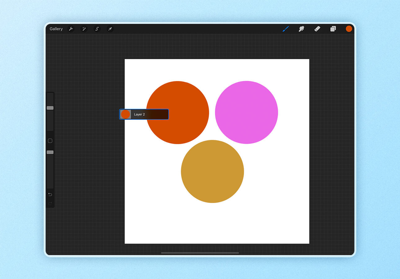 An image showing the name of a layer in Procreate, found using the Layer Select tool.
