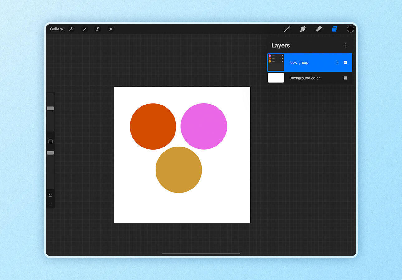 An image in Procreate demonstrates layer group features.