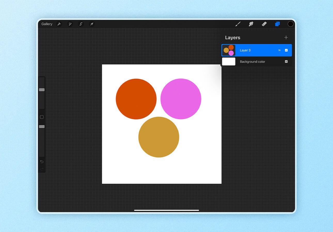 An image in Procreate demonstrates the merge layer features.