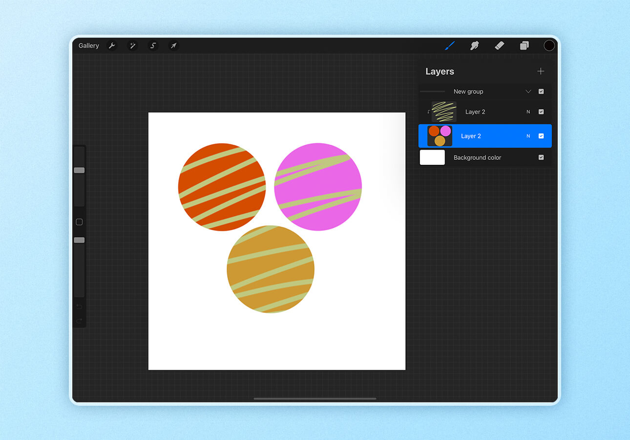 An image demonstrating a clipping mask in Procreate.