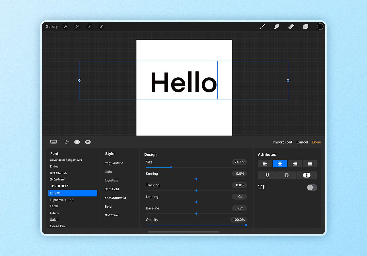 An image of the font customization screen in Procreate.