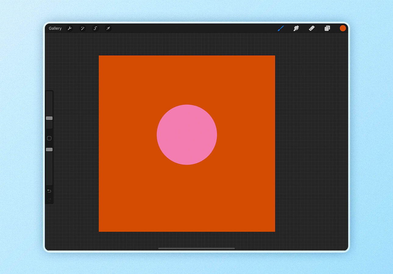 An image showing the results of using the ColorDrop feature in the Procreate app.