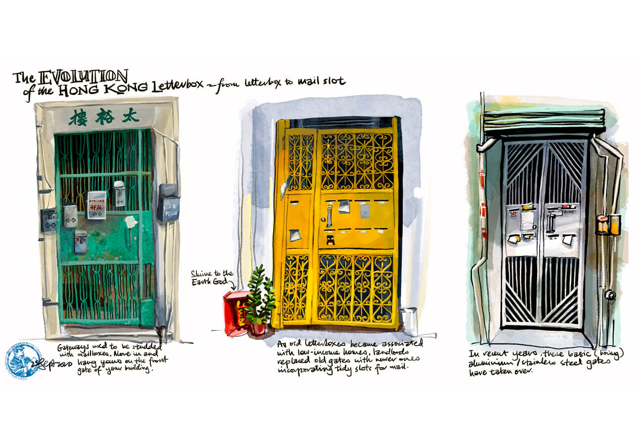 A sketch of 3 Hong Kong doorways and letterboxes by Rob Sketcherman.