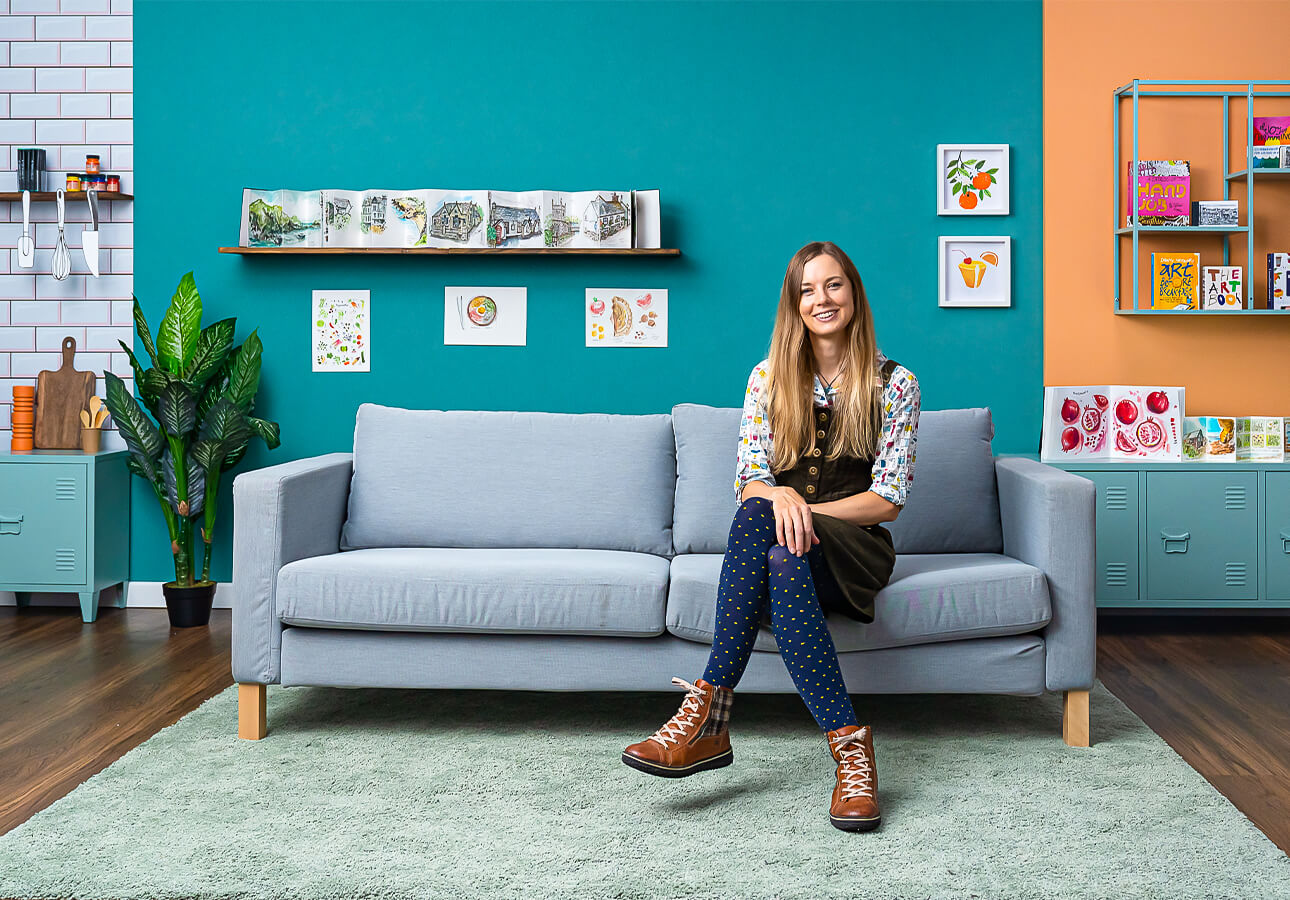 A shot of graphic designer and illustrator Melanie Chadwick in her living room.