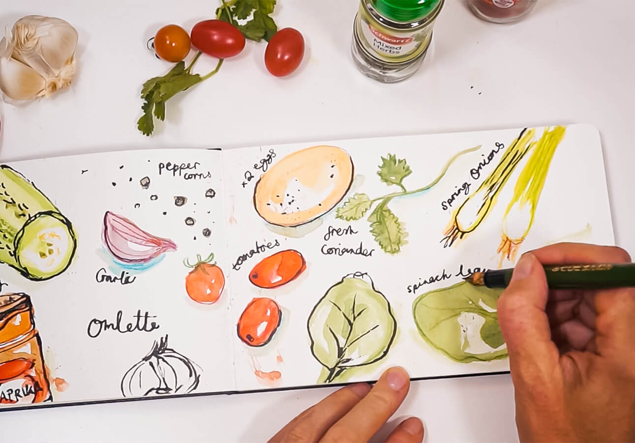 Melanie Chadwick sketching some veggies.