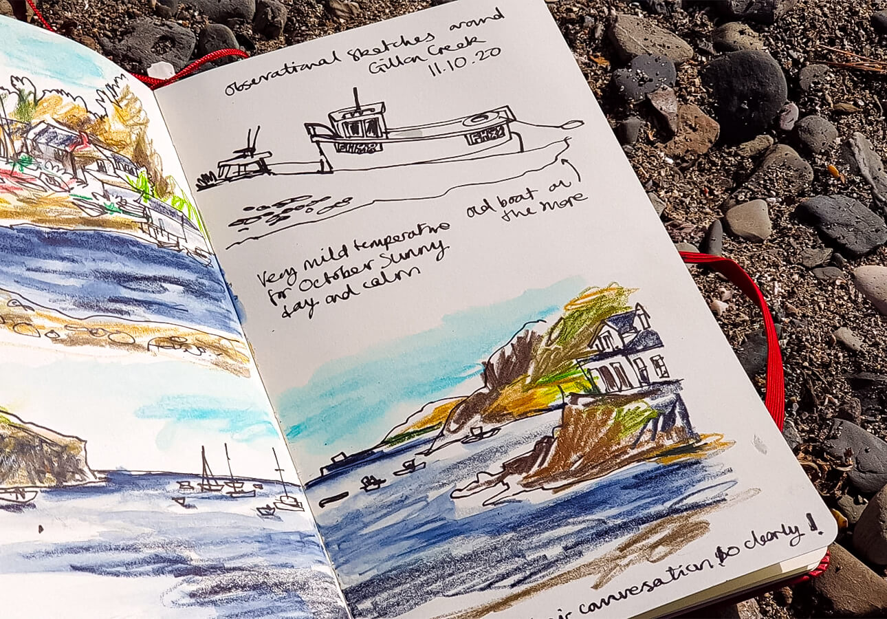 Melanie Chadwick's sketchbook notes of St. Anthony.