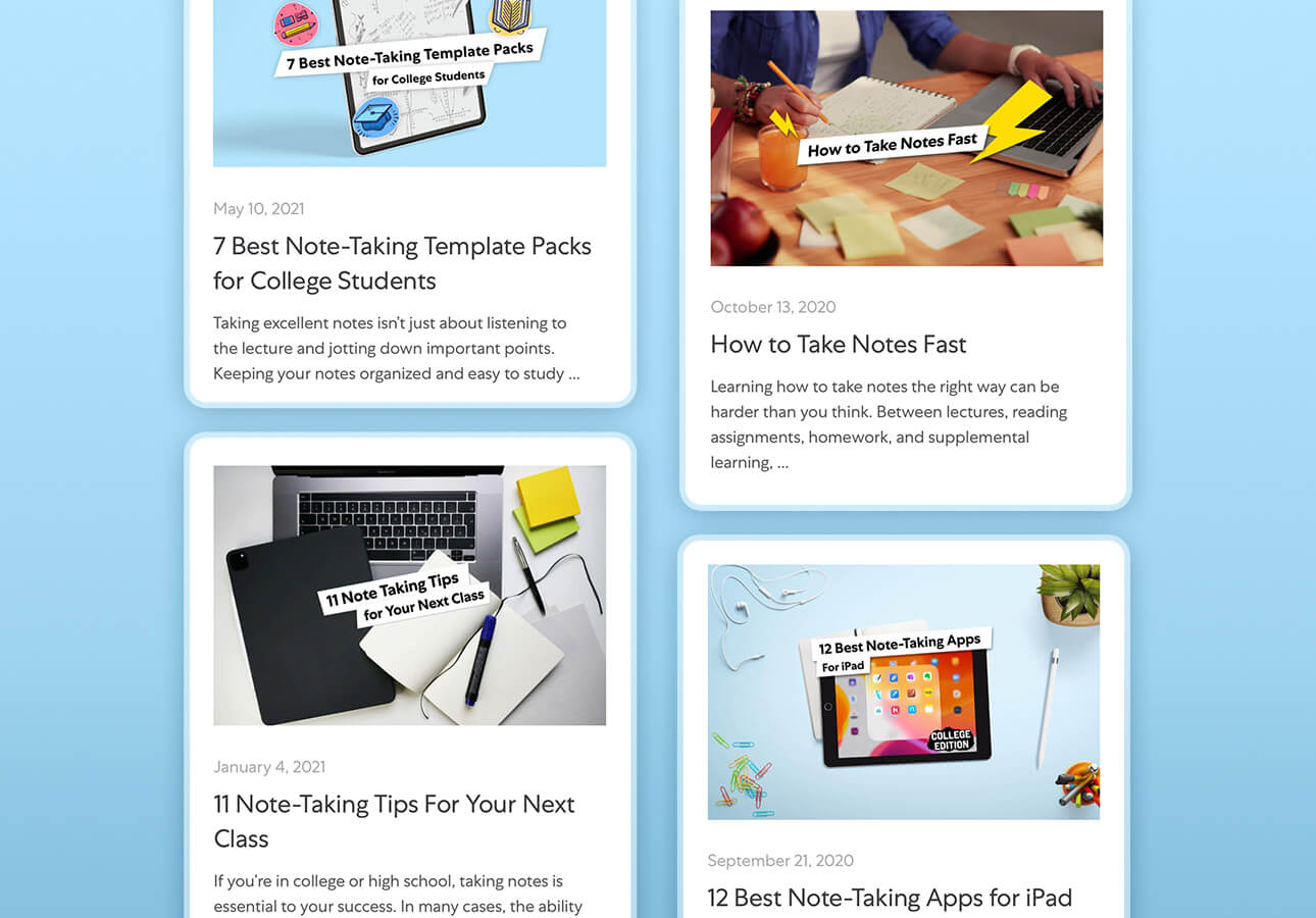 An image depicting the notetaking resources featured on the Paperlike blog.