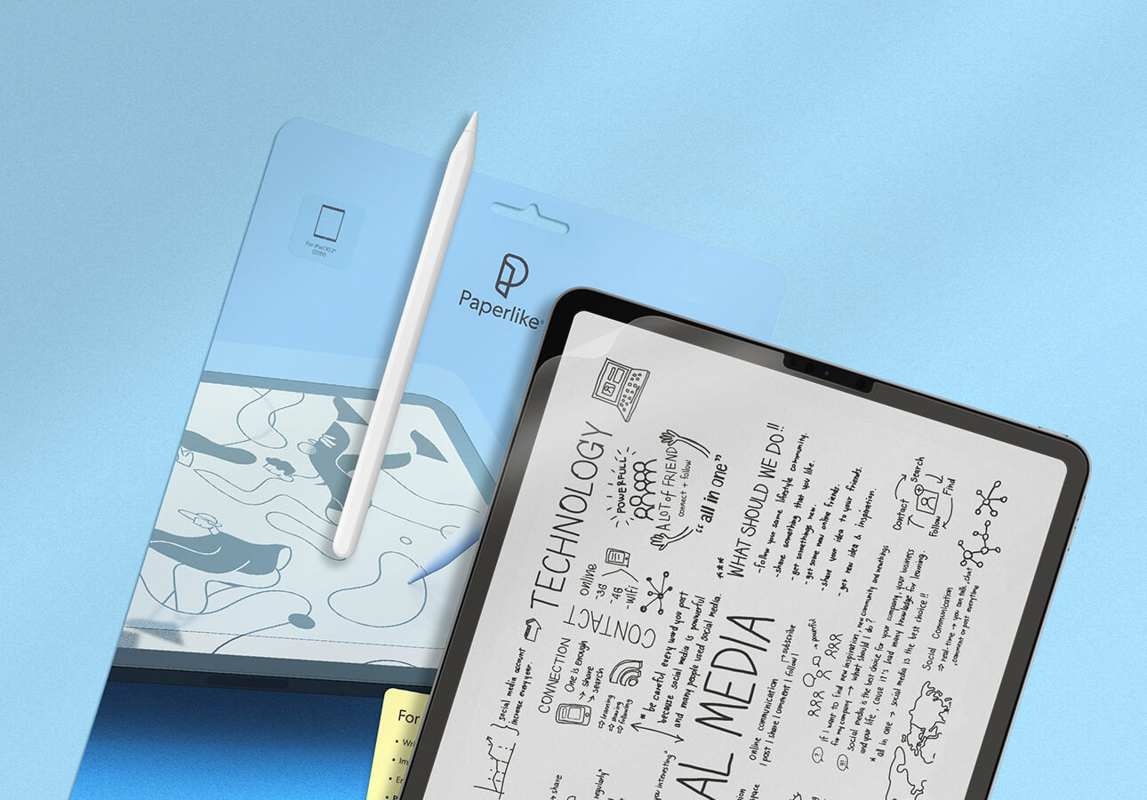 A close up of an iPad screen filled with sketchnotes accompanied by the Paperlike screen protector and     packaging.