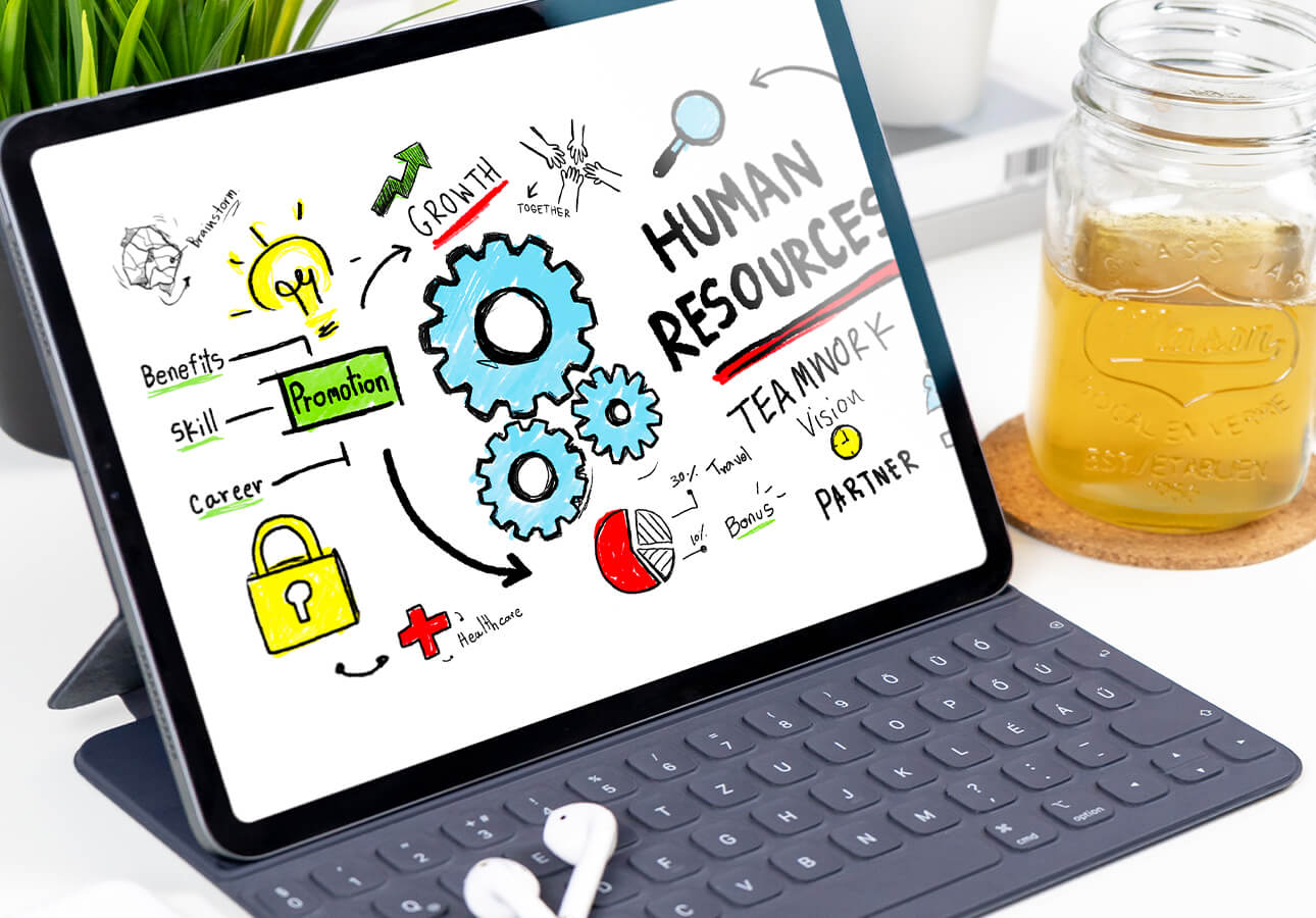 An iPad screen with a sketchnote diagram illustrating human resources, teamwork, and growth.