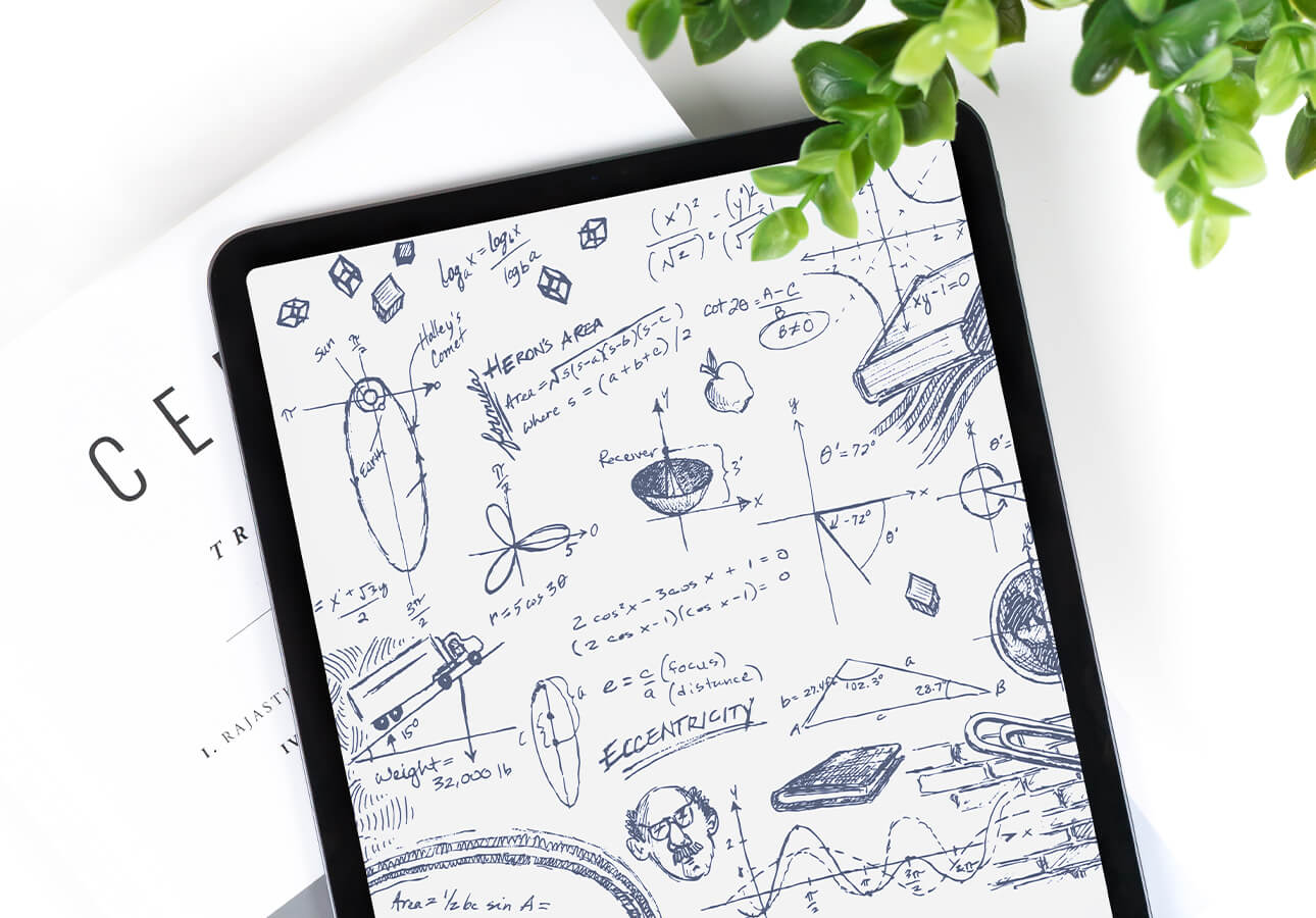 An iPad screen filled with hand-drawn equtations, graphis, and other sketched notes.