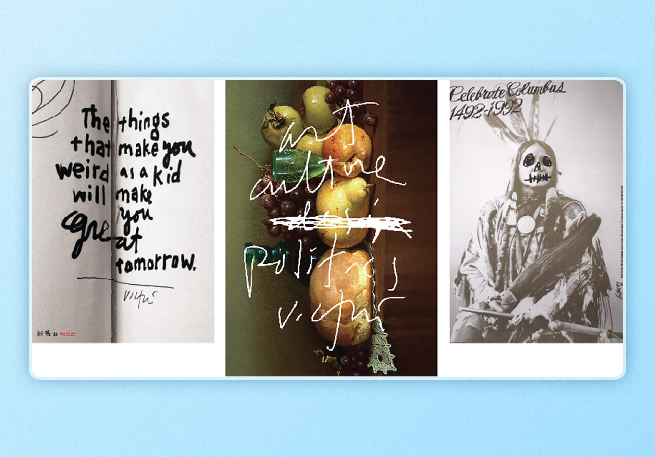 An image depicting samples created during the Skillshare class     Radical Typography by James Victore.