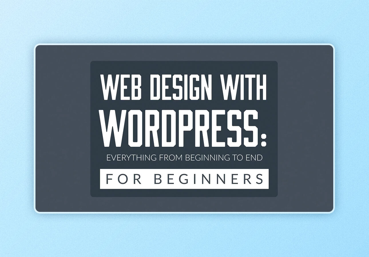 """An image depicting a title card for the class topic """"Web Design with     WordPress,"""" part of the Skillshare class Building out your Graphic Design     Portfolio by Derrik Mithcell."""