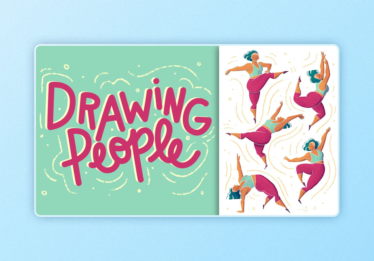Text: An image depicting a title card for the Skillshare class Drawing     People by Sarah Holliday.
