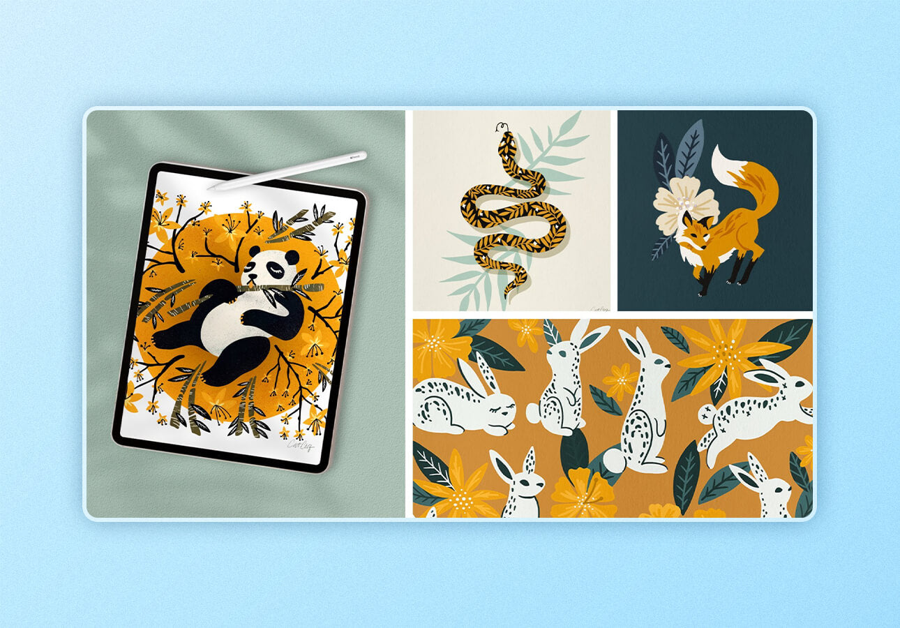 An image depicting sample art created as part of the class Draw     Animals in Procreate by Cat Coquillette.