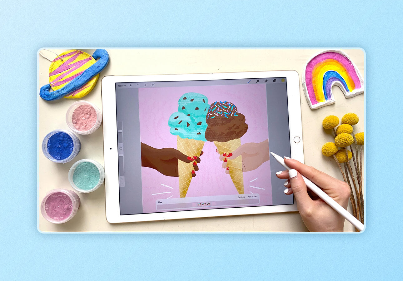 An image depicting sample art created as part of the class Procreate     Animation for Illustrators by Brook Glaser.