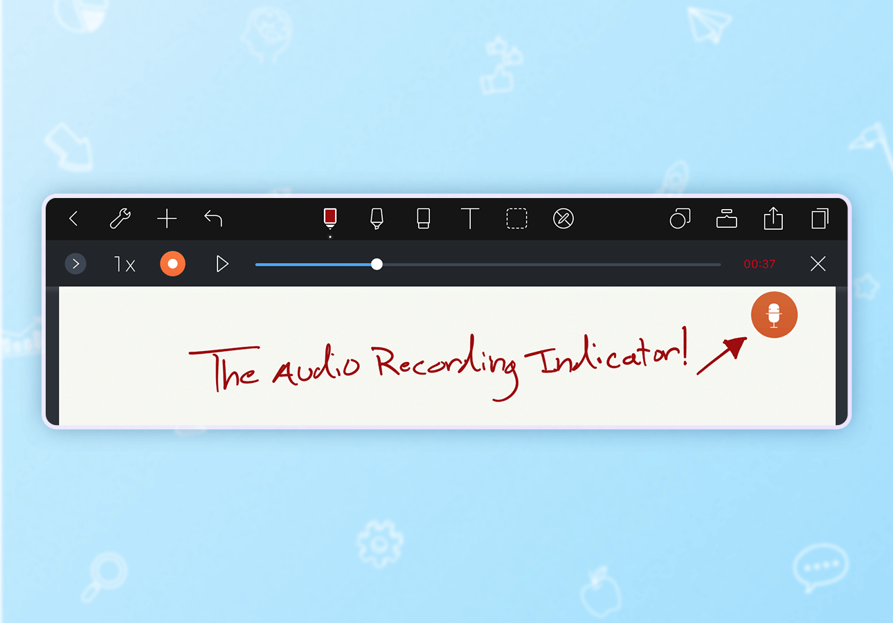 An image demonstrating the Noteshelf audio recording interface.