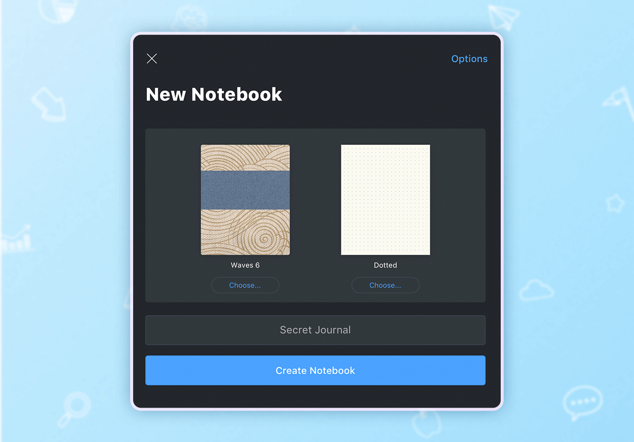 An image demonstrating the Noteshelf notebook creation interface.
