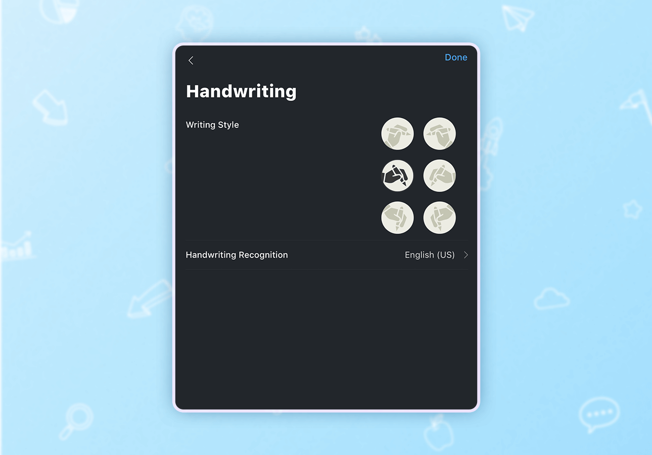 An image depicting the Noteshelf handwriting style selection menu.