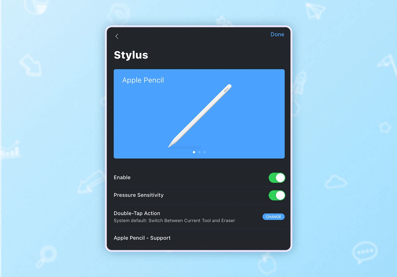 An image depicting the Noteshelf stylus customization menu.