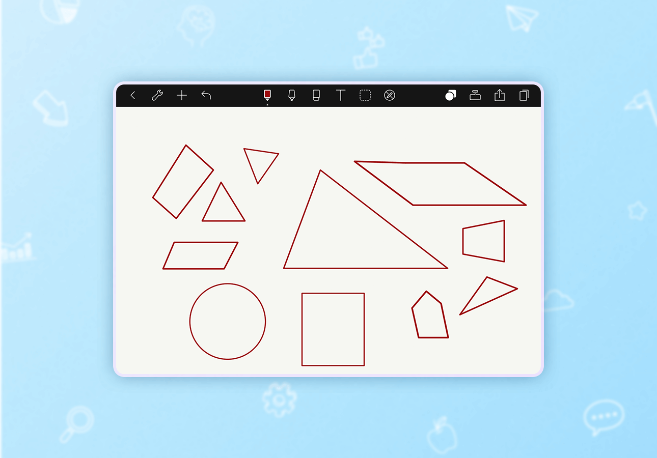 An image depicting various shapes drawn with the Noteshelf shapes tool.