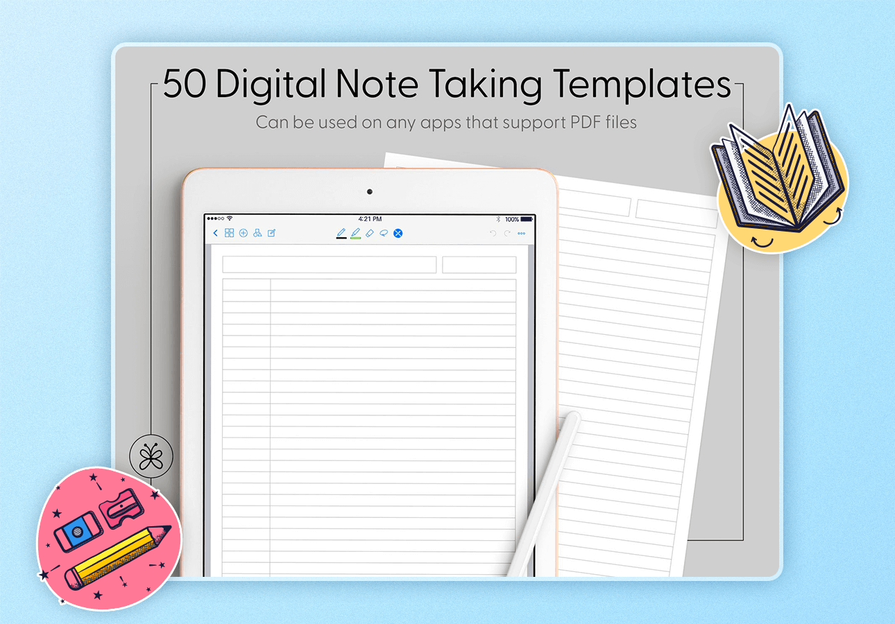 An image depicting a pack for 50 digital note-taking templates.