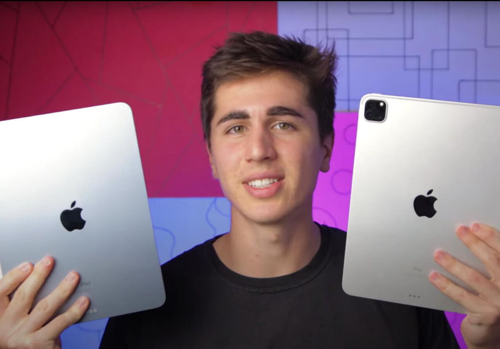 Paul holding the iPad Air (2020) and the iPad Pro