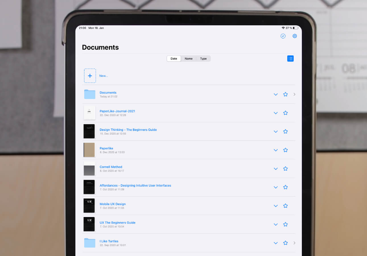 An iPad screenshot showing the GoodNotes 5 list view for content items.