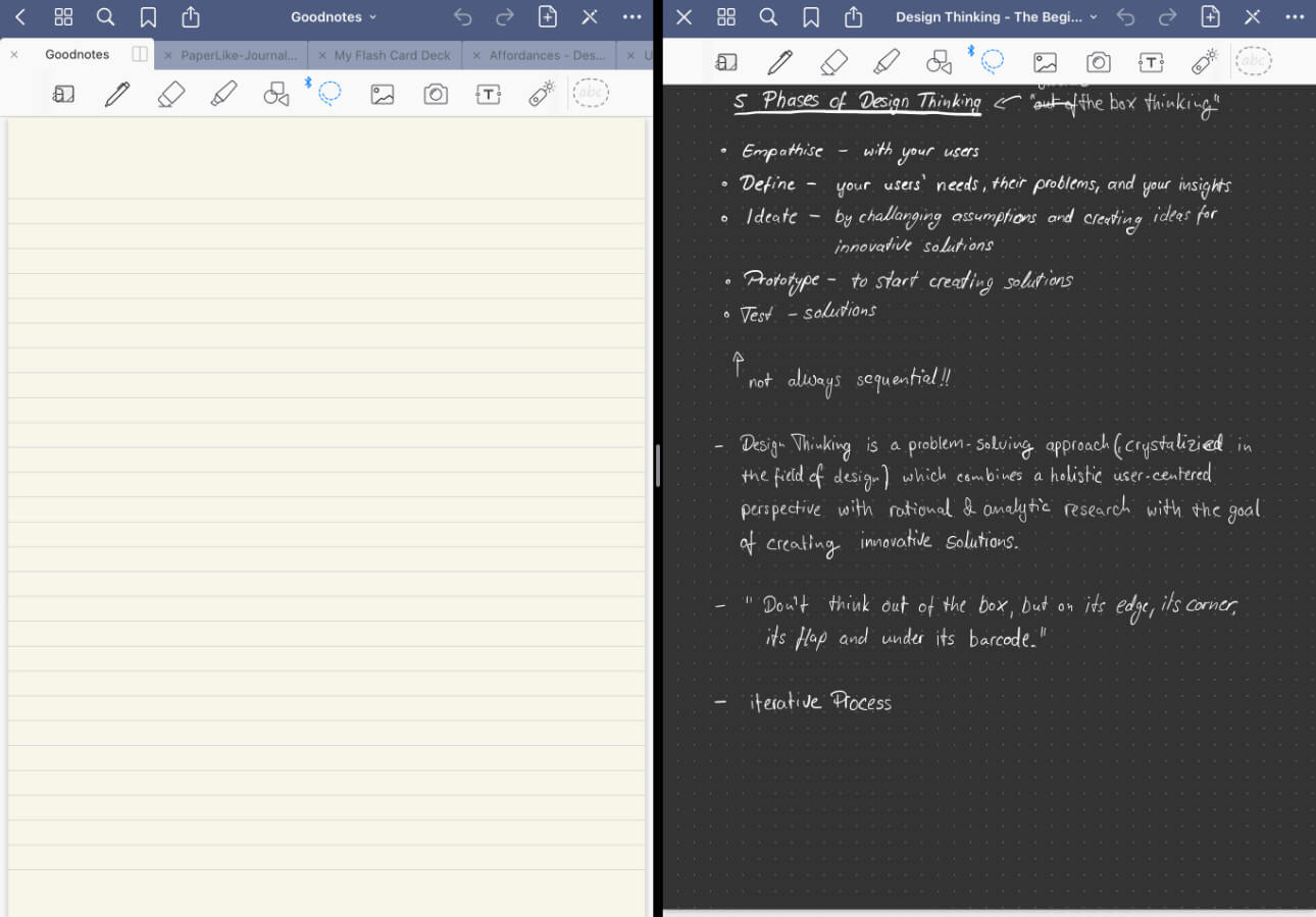 An image displaying two side-by-side instances of GoodNotes 5 using Split View.
