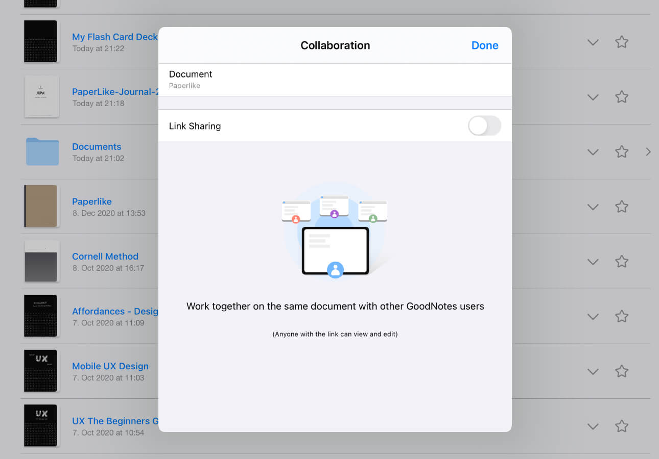 An image displaying the Collaboration menu inside GoodNotes 5.