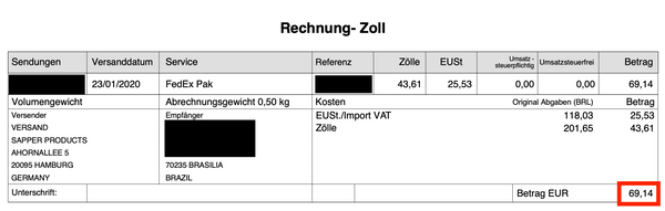 Invoice showing 69,14 EUR import duties