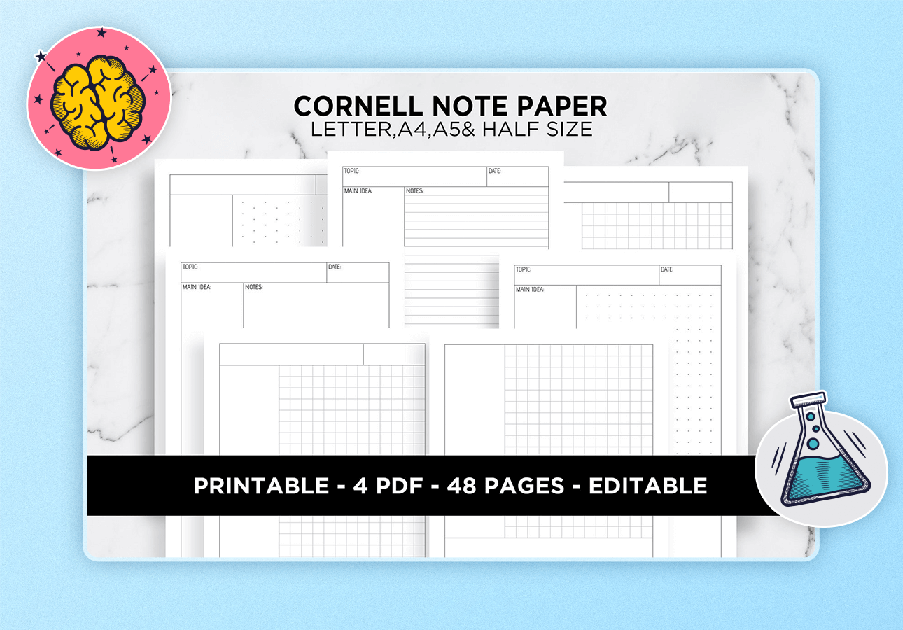 An image depicting a variety of Cornell Note template pages.
