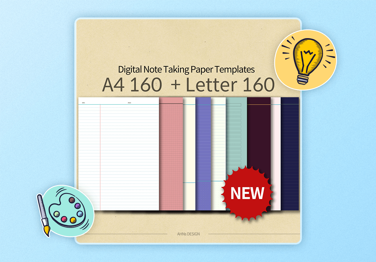An image depicting 160 Digital Note-Takng Paper Templates